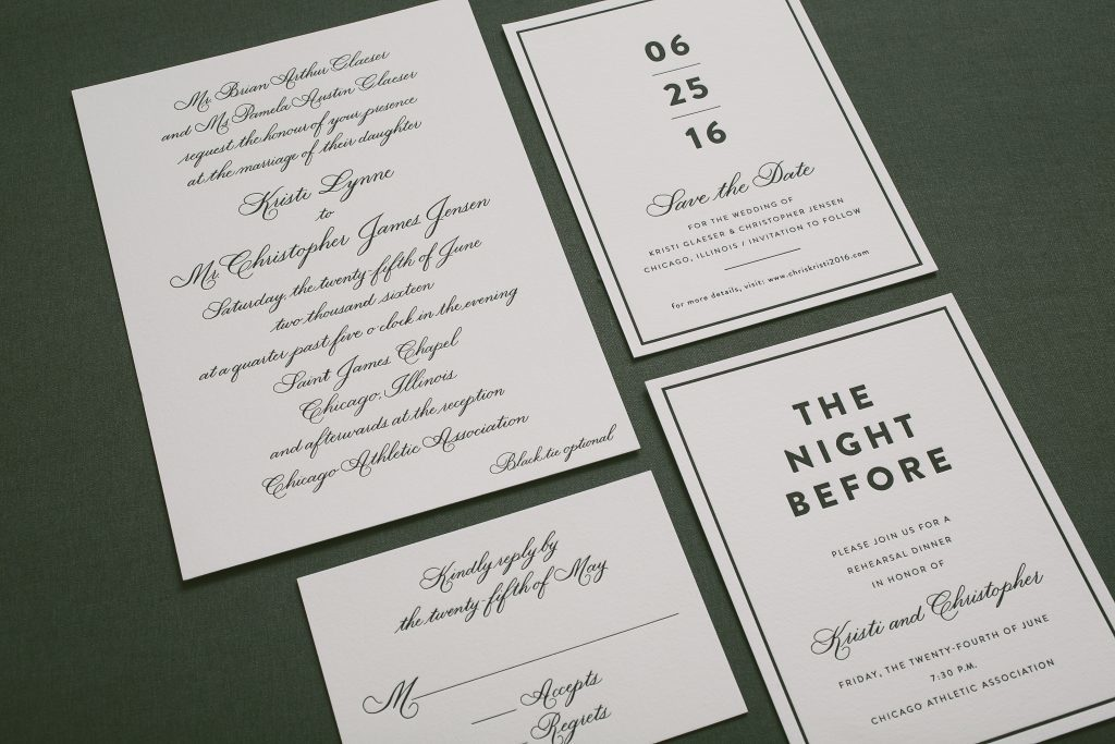 classic black hand calligraphy wedding invitations | Bella Figura