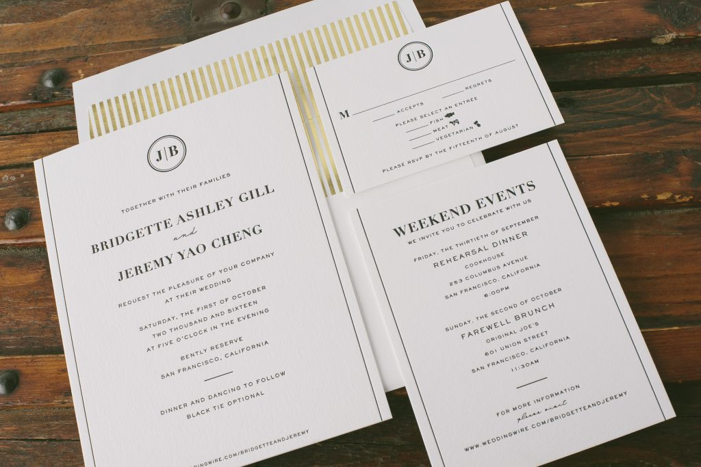 classic black letterpress wedding invitations | Bella Figura