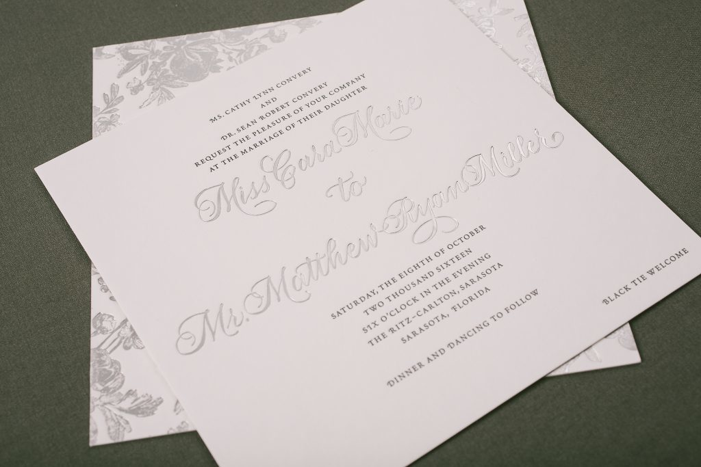 hand calligraphy wedding invitations in black letterpress + silver foil | Bella Figura