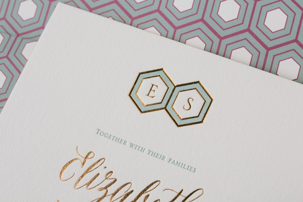 chic contemporary wedding invitations in copper foil | Bella Figura