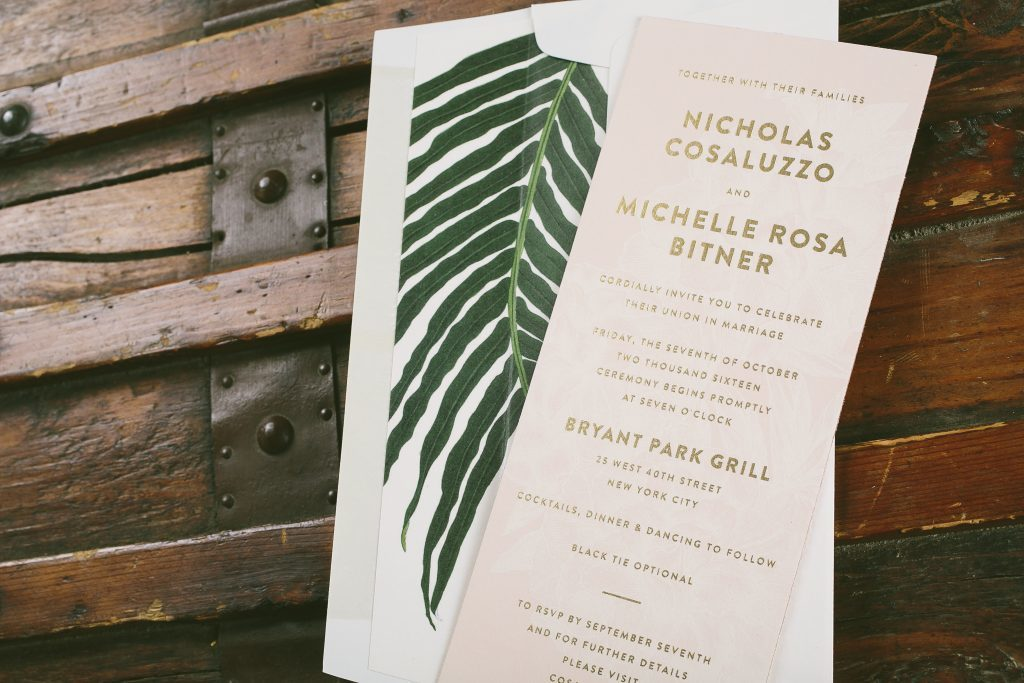 Modern fern wedding invitations | Bella Figura