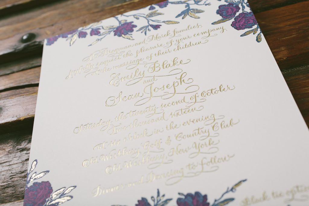 Vintage floral wedding invitations in gold foil and jewel tones | Bella Figura