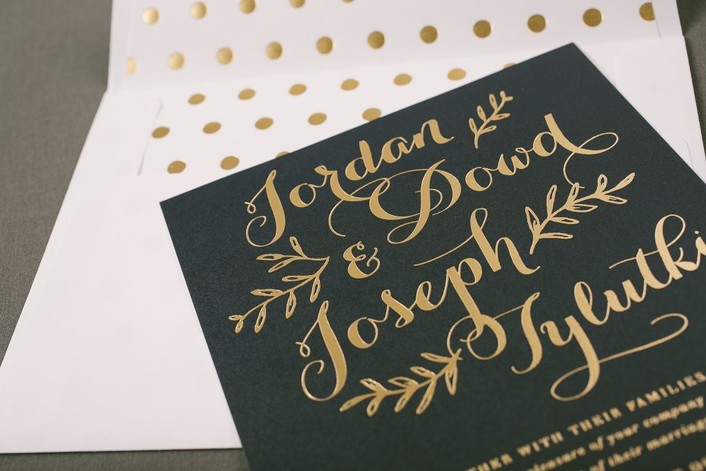 sweet handdrawn wedding invitations in gold foil | Bella Figura
