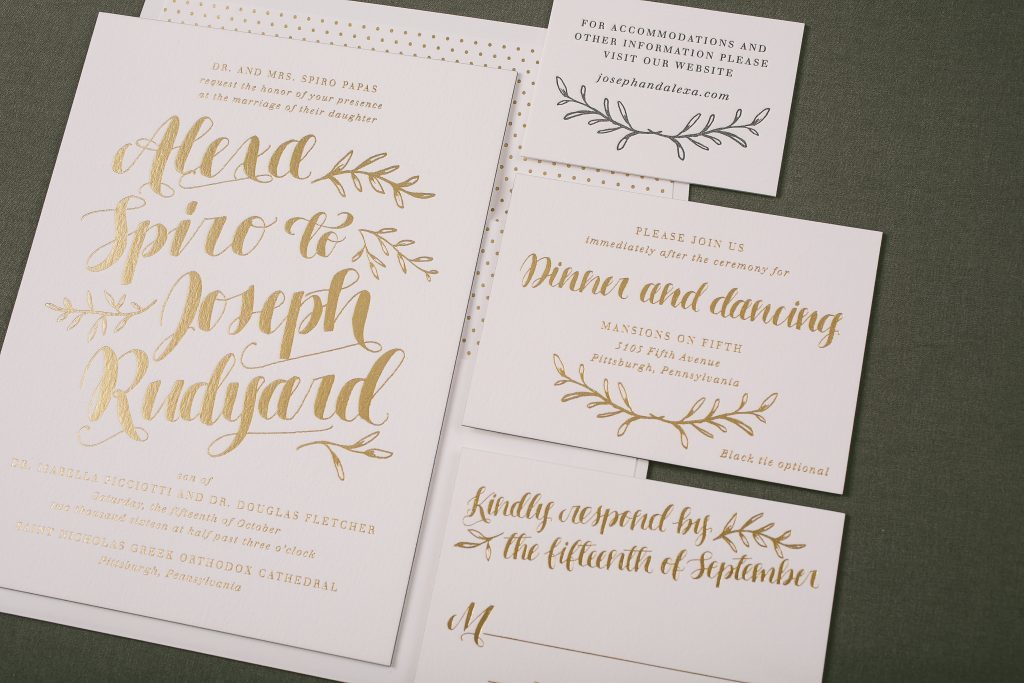 Elegant + rustic gold foil wedding invitations | Bella Figura