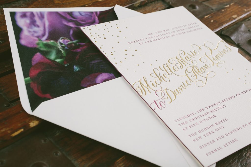 Glamorous confetti gold foil stamped wedding invitations | Bella Figura