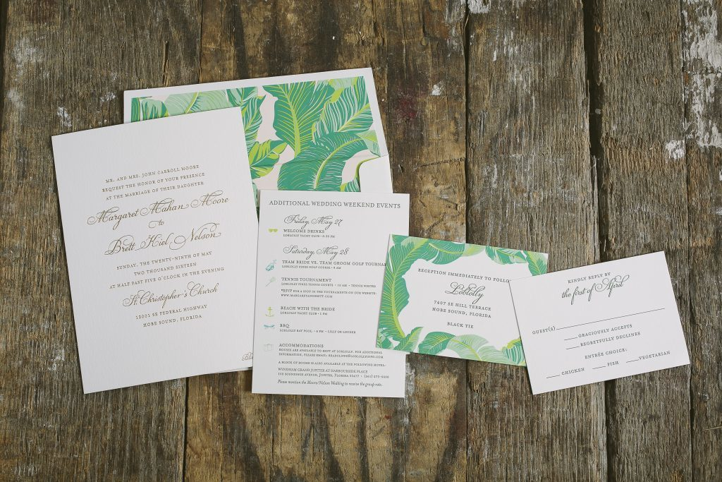 palm-inspired wedding invitations for Florida wedding | Bella Figura