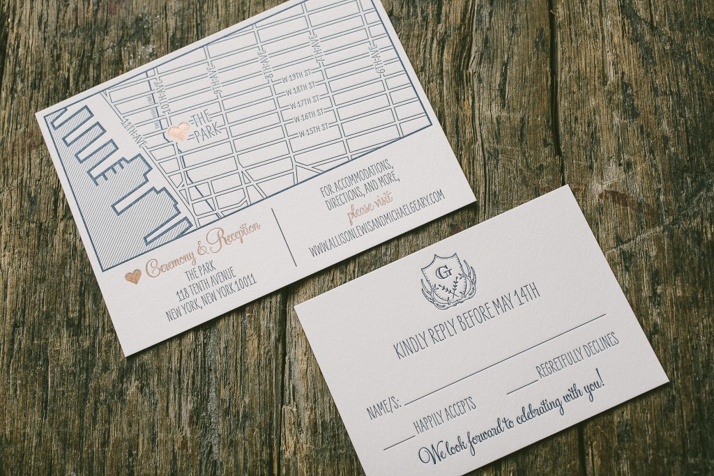 Rustic summer wedding invitations in navy and rose gold | Bella Figura