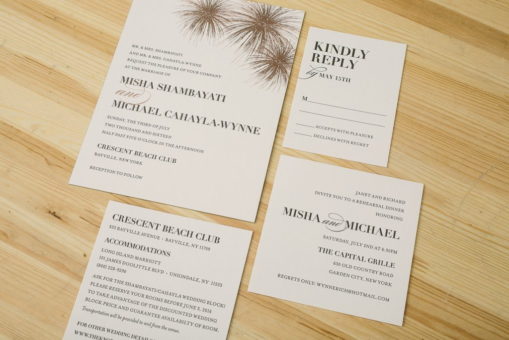 Elegant letterpress + foil fireworks wedding invitations | Bella Figura