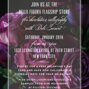 Chocolates & calligraphy event at the Bella FIgura flagship store on Saturday, January 28th