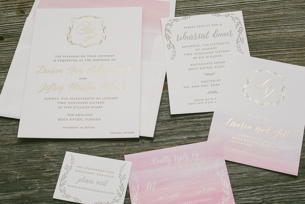 Wreath Crest pink and gold wedding invitations | Bella Figura