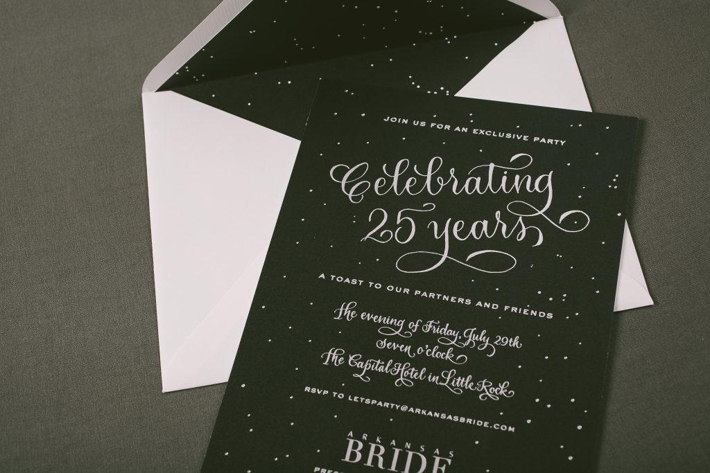 black and silver starry night invitations | Bella Figura