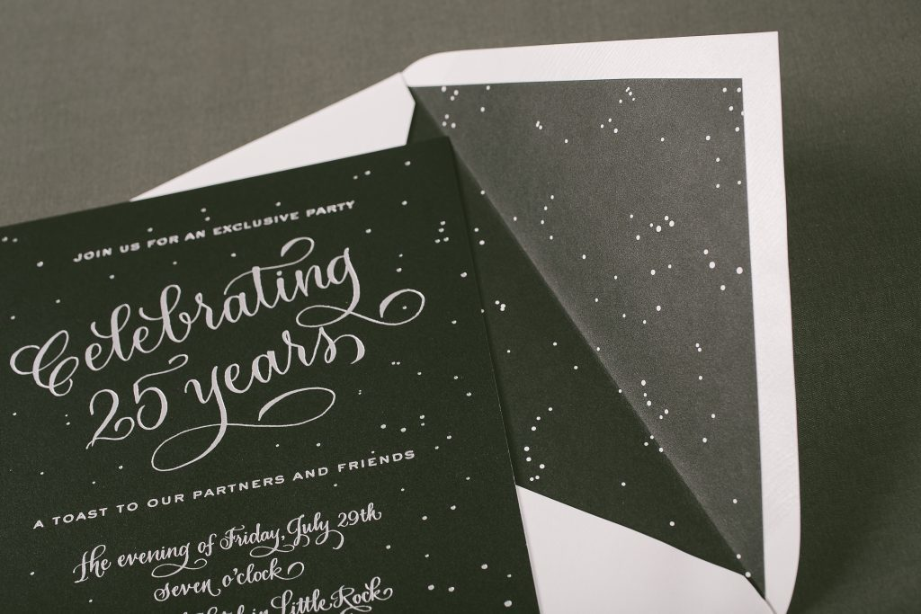 black and silver starry night invitations | Bella Figura