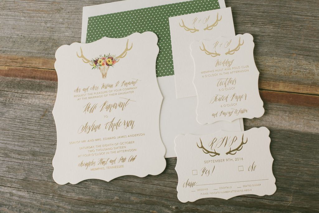 gold foil boho wedding invitations | Bella Figura