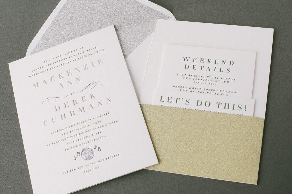 silver + gold foil disco ball wedding invitations | Bella Figura