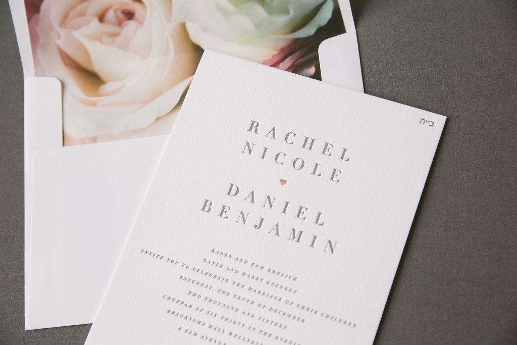 gray letterpress + rose gold foil typographic wedding invitations | Bella Figura
