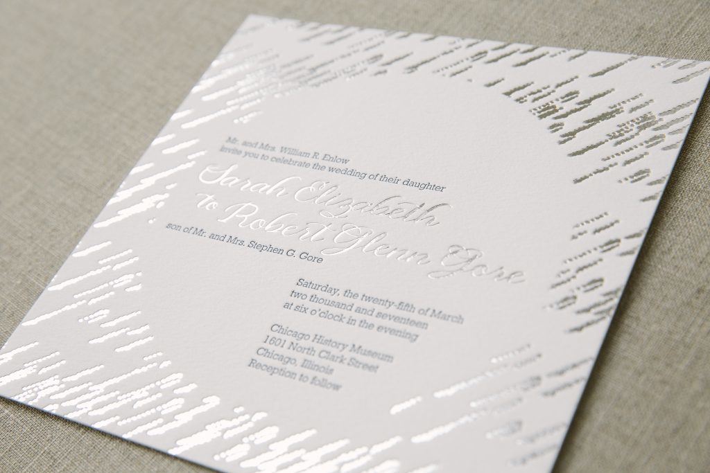 Glamorous silver foil textile-inspired wedding invitations | Bella Figura