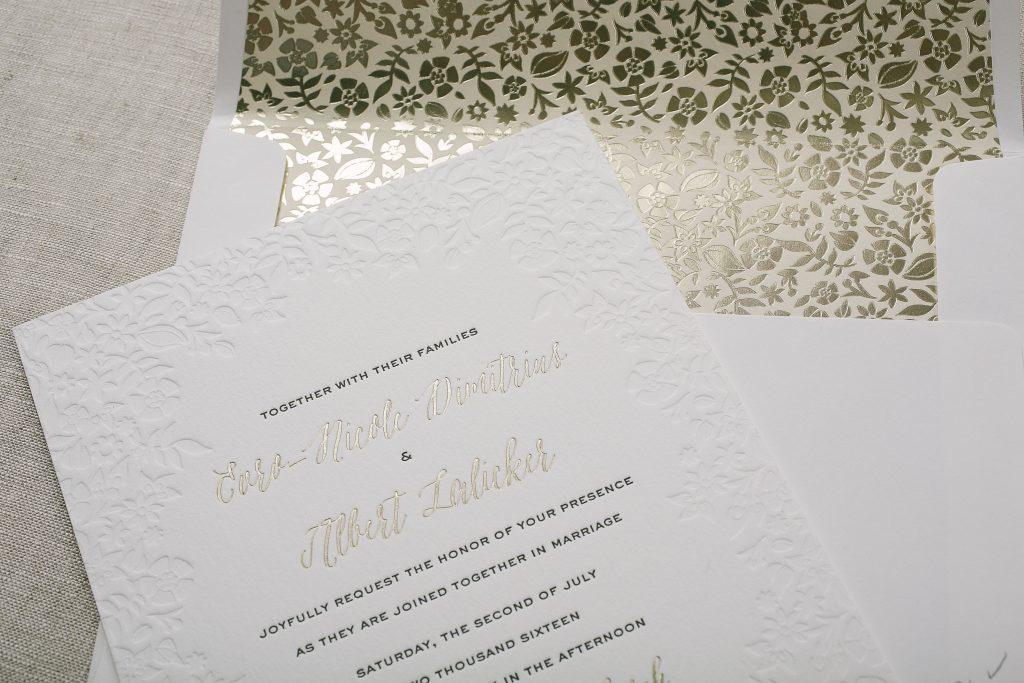 delicate blind debossed floral wedding invitations for Mexico wedding | Bella Figura
