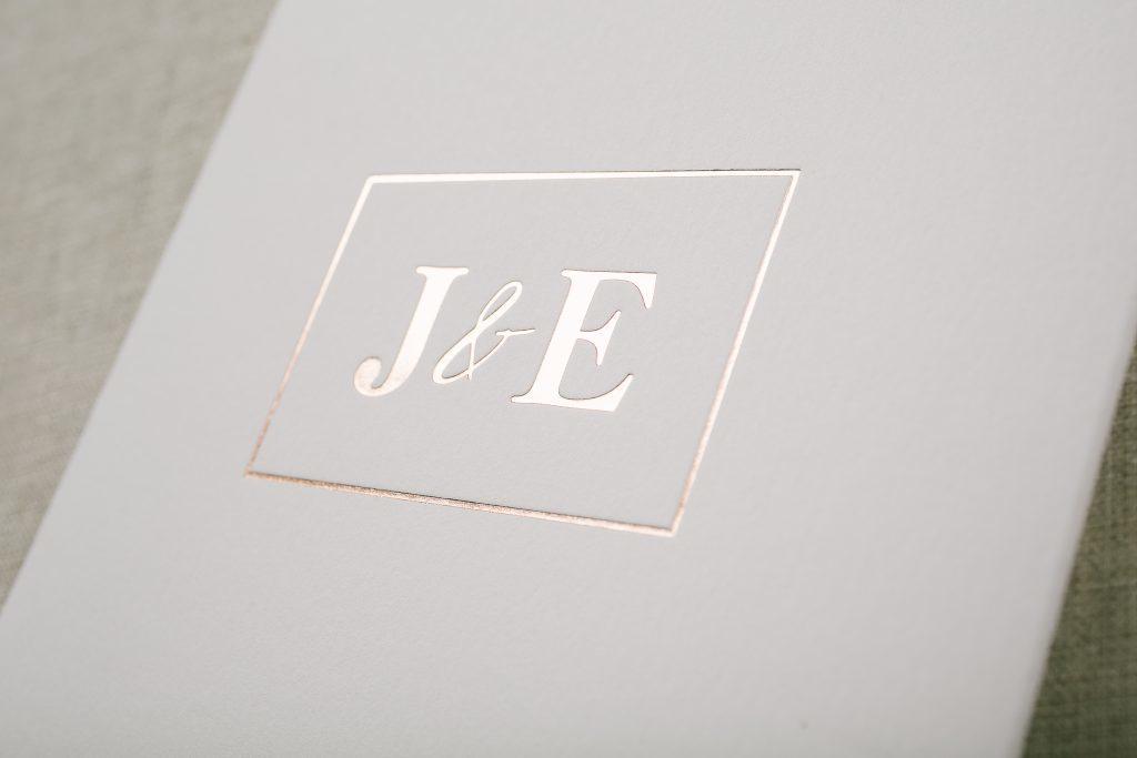 gray + rose gold modern floral wedding invitations | Bella Figura