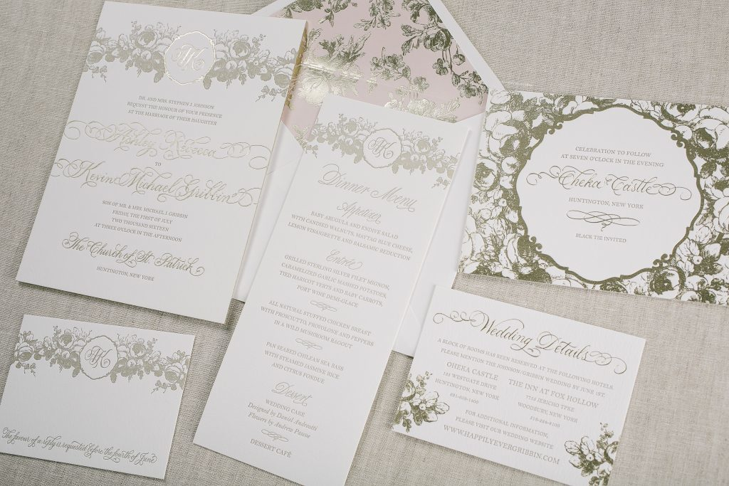 letterpress + gold foil floral wedding invitations for Oheka Castle wedding | Bella Figura