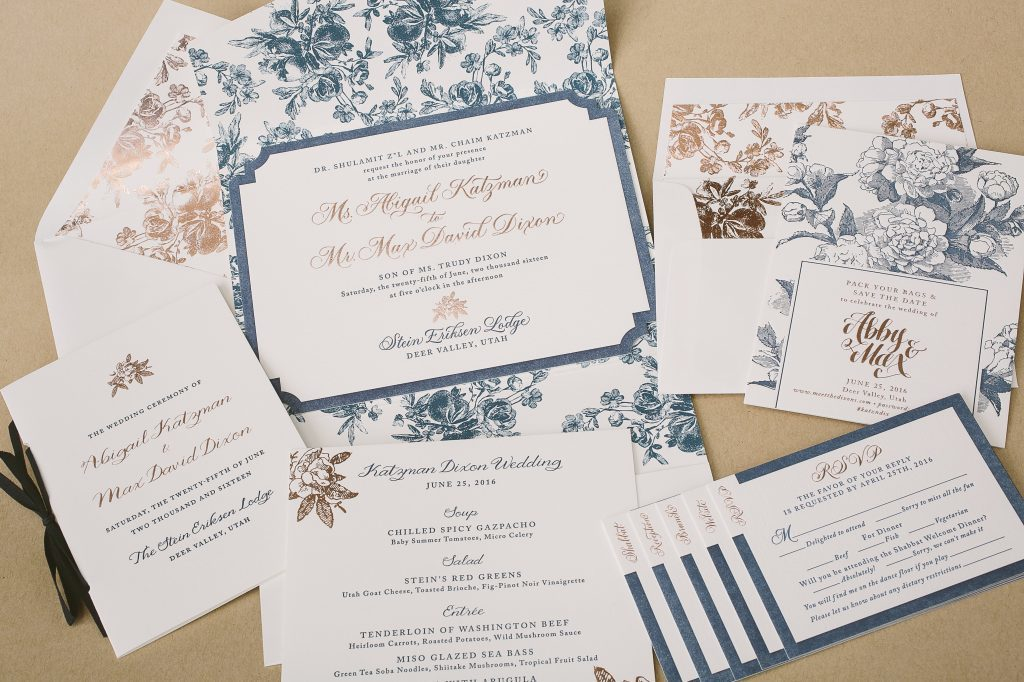 romantic floral mountain wedding invitations | Bella Figura