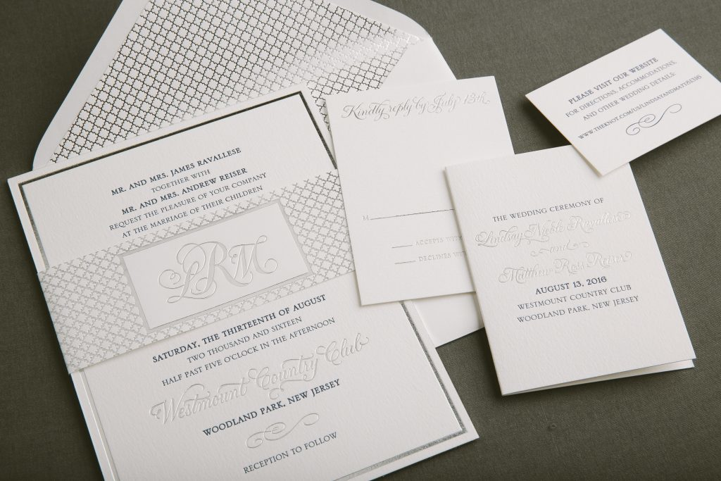 navy + silver foil classic wedding invitations by Bella Figura