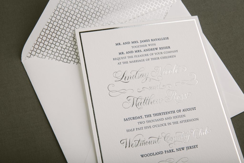 navy + silver foil classic wedding invitations - Bella Figura