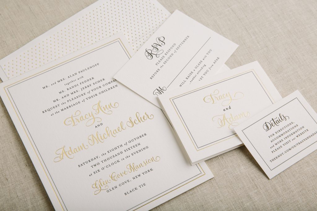 gold foil and black letterpress wedding invitations with border