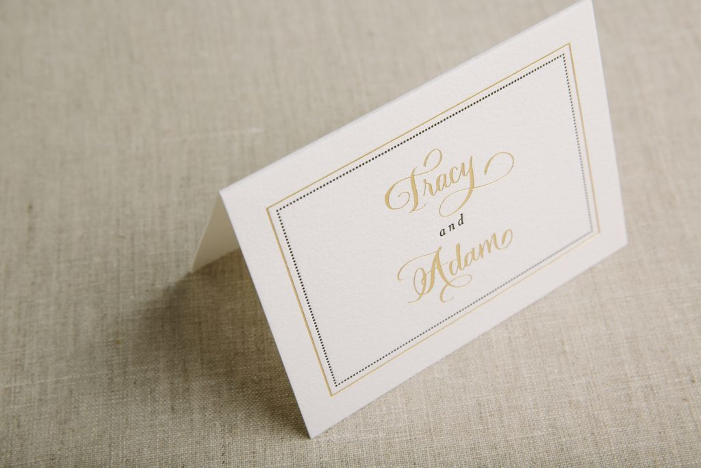 gold foil and black letterpress wedding invitations with border | Bella Figura