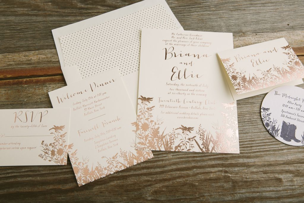 Gold Foil Stamped Wedding Invitations: Foil Stamped Rose Gold Wildflower Wedding Invitations