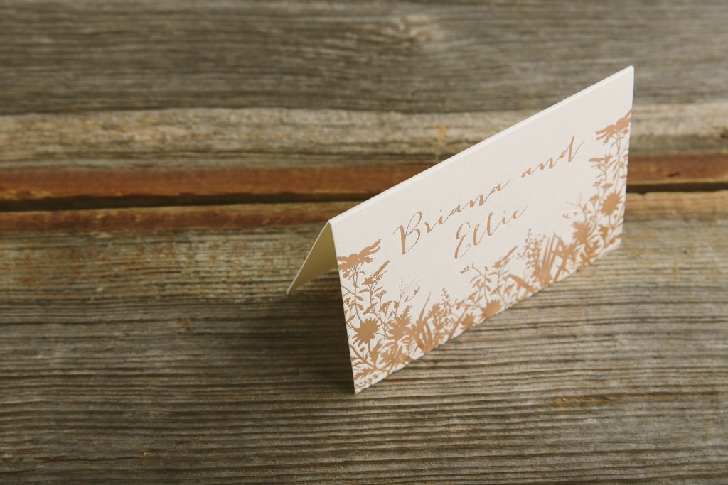 foil stamped rose gold wildflower wedding invitations by Bella Figura