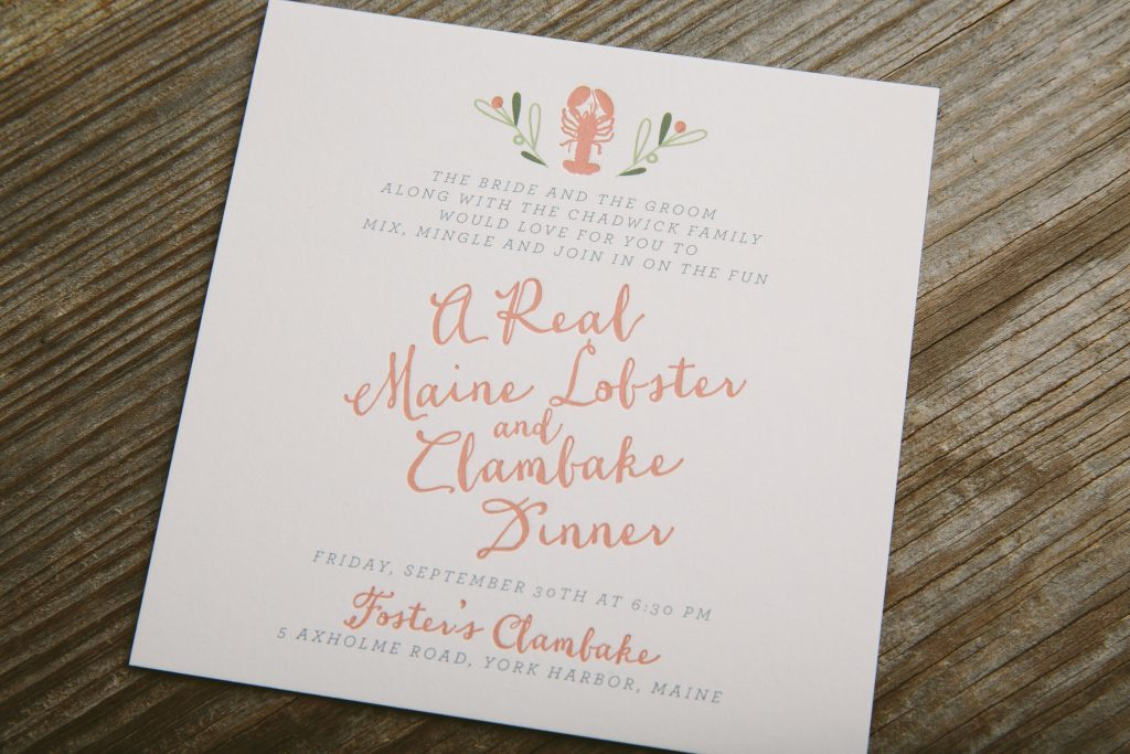 Folk floral wedding invitations for coastal celebration in New England | Bella Figura