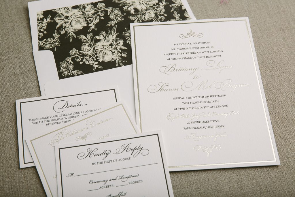 Formal wedding invitations in gold foil and classic black letterpress | Bella Figura