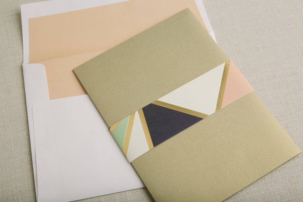 gold foil + multi-color geometric wedding invitations by Bella Figura