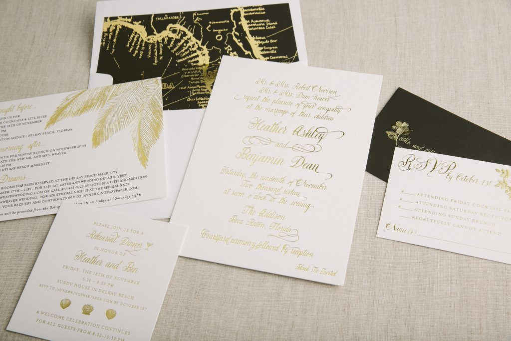 Black and gold foil destination wedding invitations  | Bella Figura