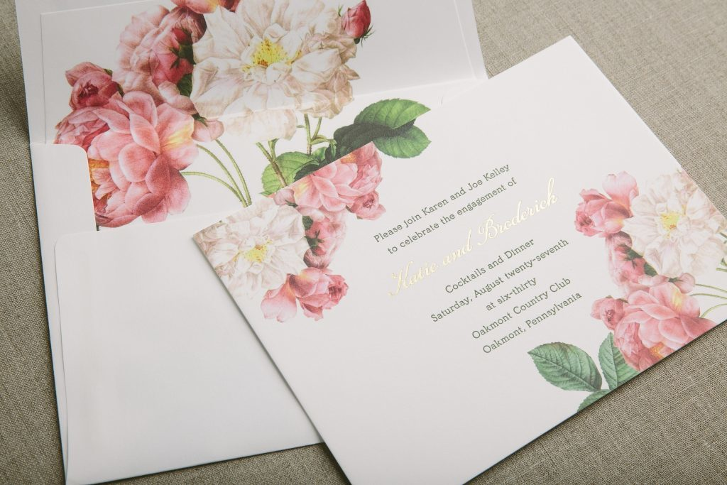 Letterpress + foil stamped floral engagement party invitations by Bella Figura