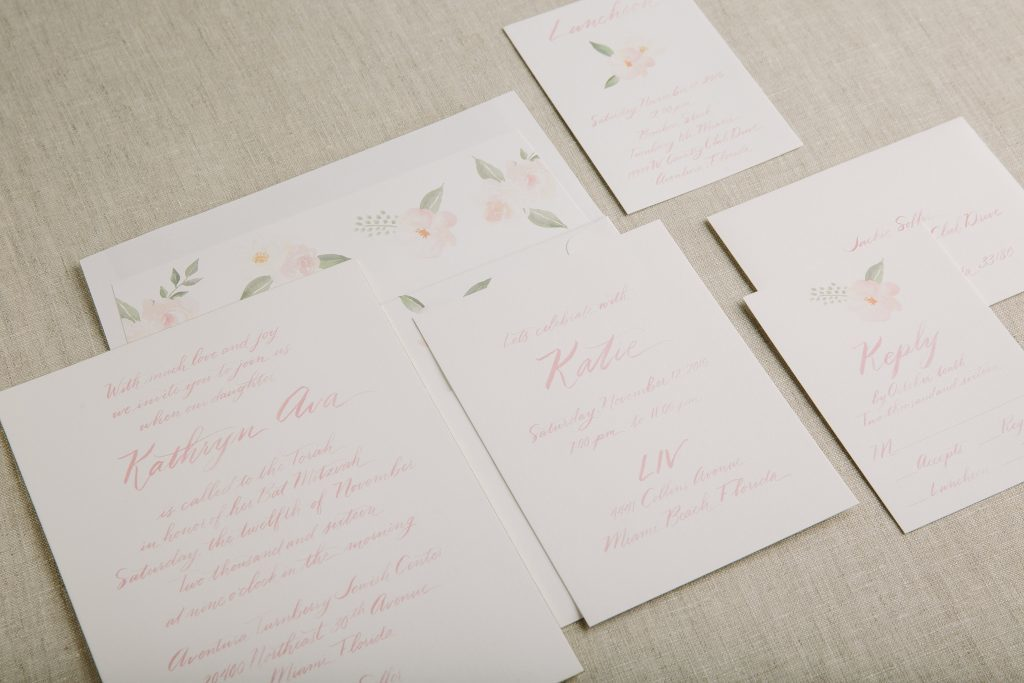Hand calligraphed watercolor Bat Mitzvah invitations by Bella Figura