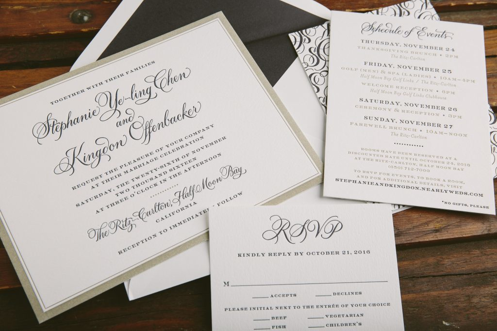 letterpress wedding invitations featuring hand calligraphy by Bella Figura