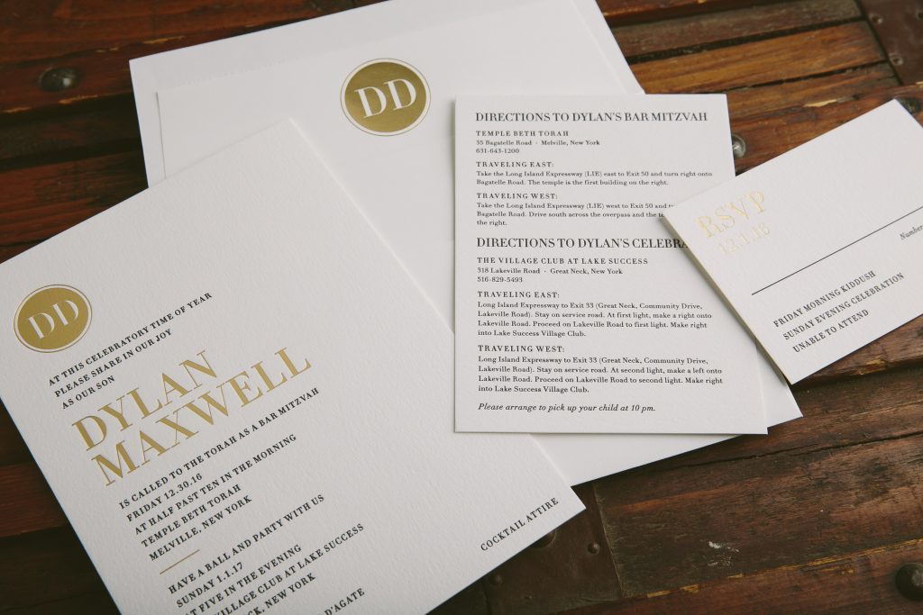 Modern typography Bar Mitzvah invitations in gold foil | Bella Figura
