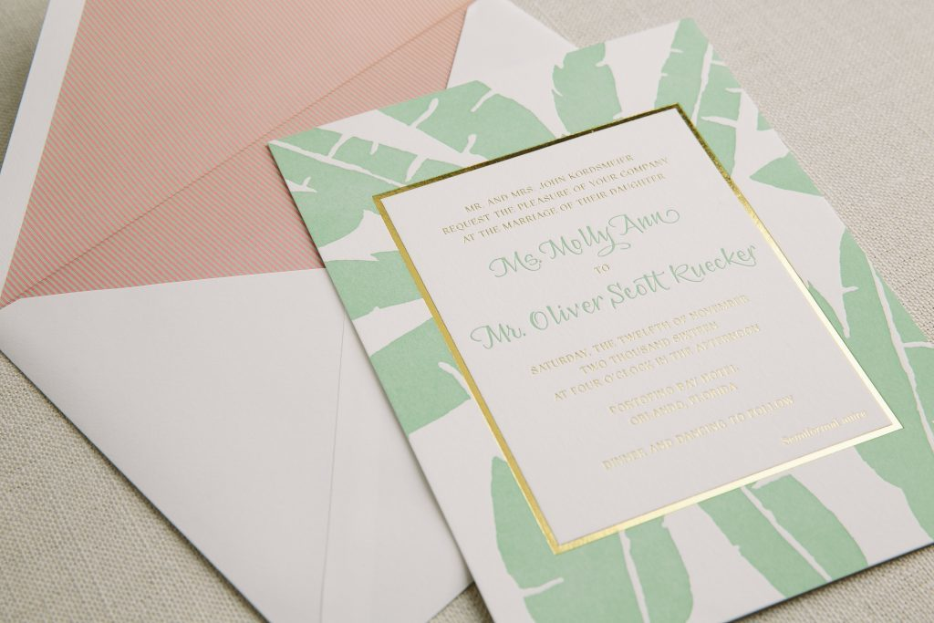 gold foil letterpress tropical wedding invitations bella figura