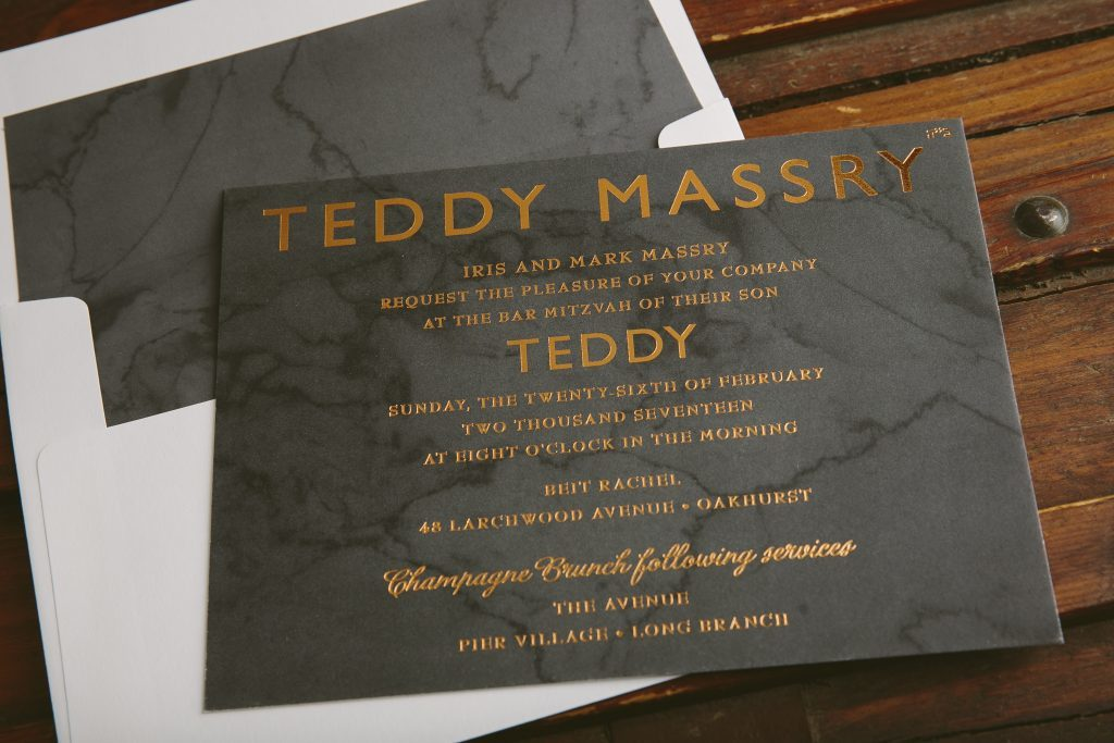 copper foil + marble masculine Bar Mitzvah invitations | Bella Figura
