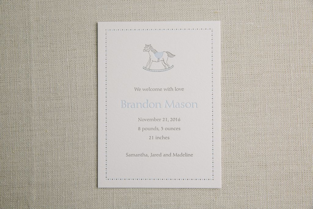 letterpress rocking horse birth announcements by Bella Figura