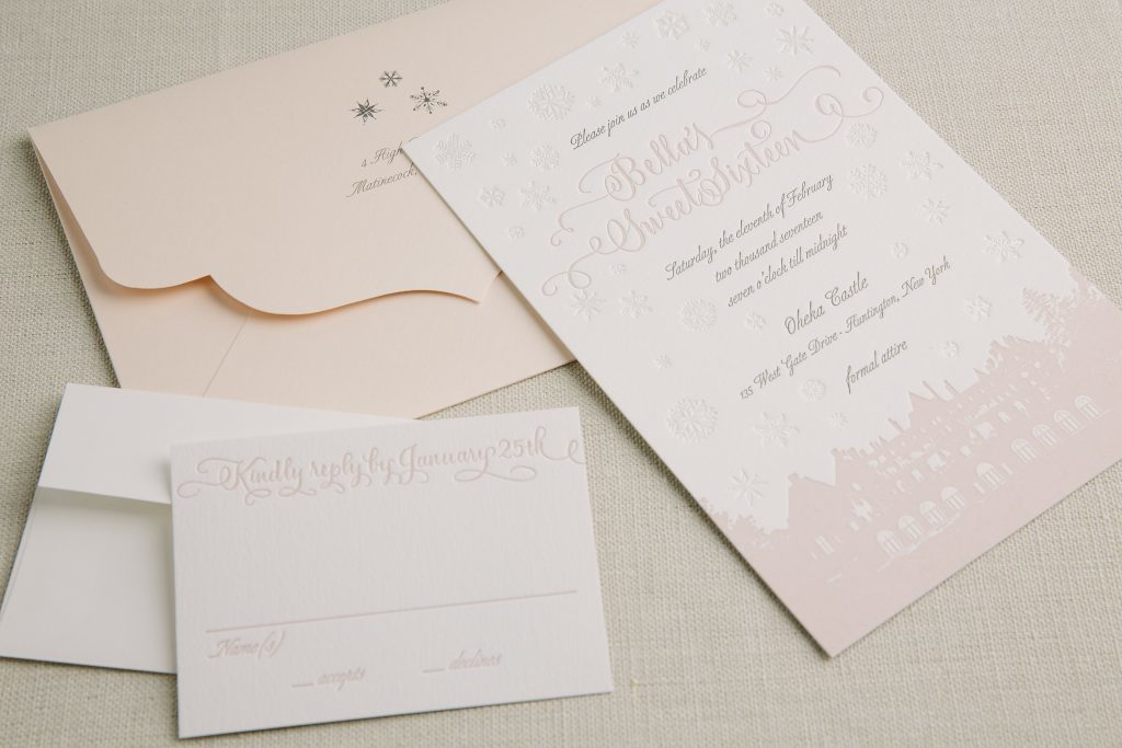 pastel foil and letterpress sweet sixteen invitations for Oheka Castle celebration by Bella Figura