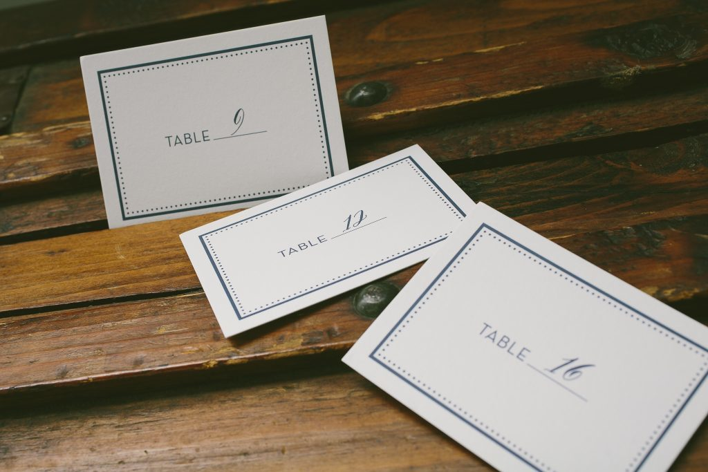 printing allows you to print in multiple colors it is a great way to designate meal choices in a subtle way as seen here on these folded place cards - Folded Place Cards