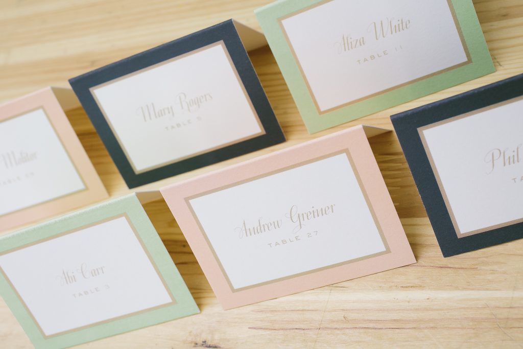 to print in multiple colors it is a great way to designate meal choices in a subtle way as seen here on these folded place cards inspired by our - Printed Place Cards