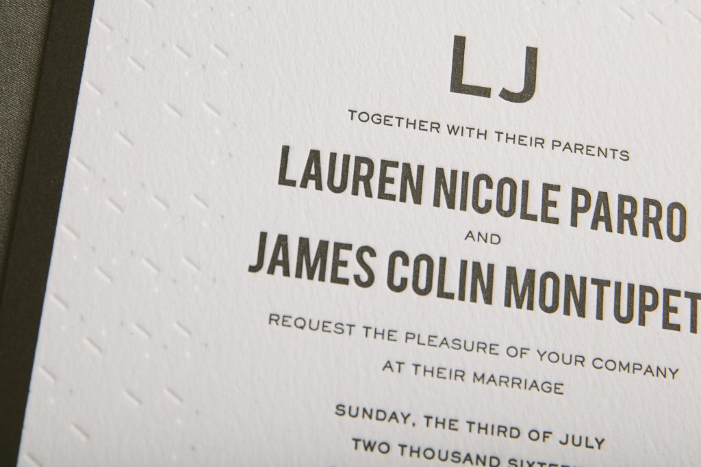 Modern black and white wedding invitations for Chicago museum wedding | Bella Figura