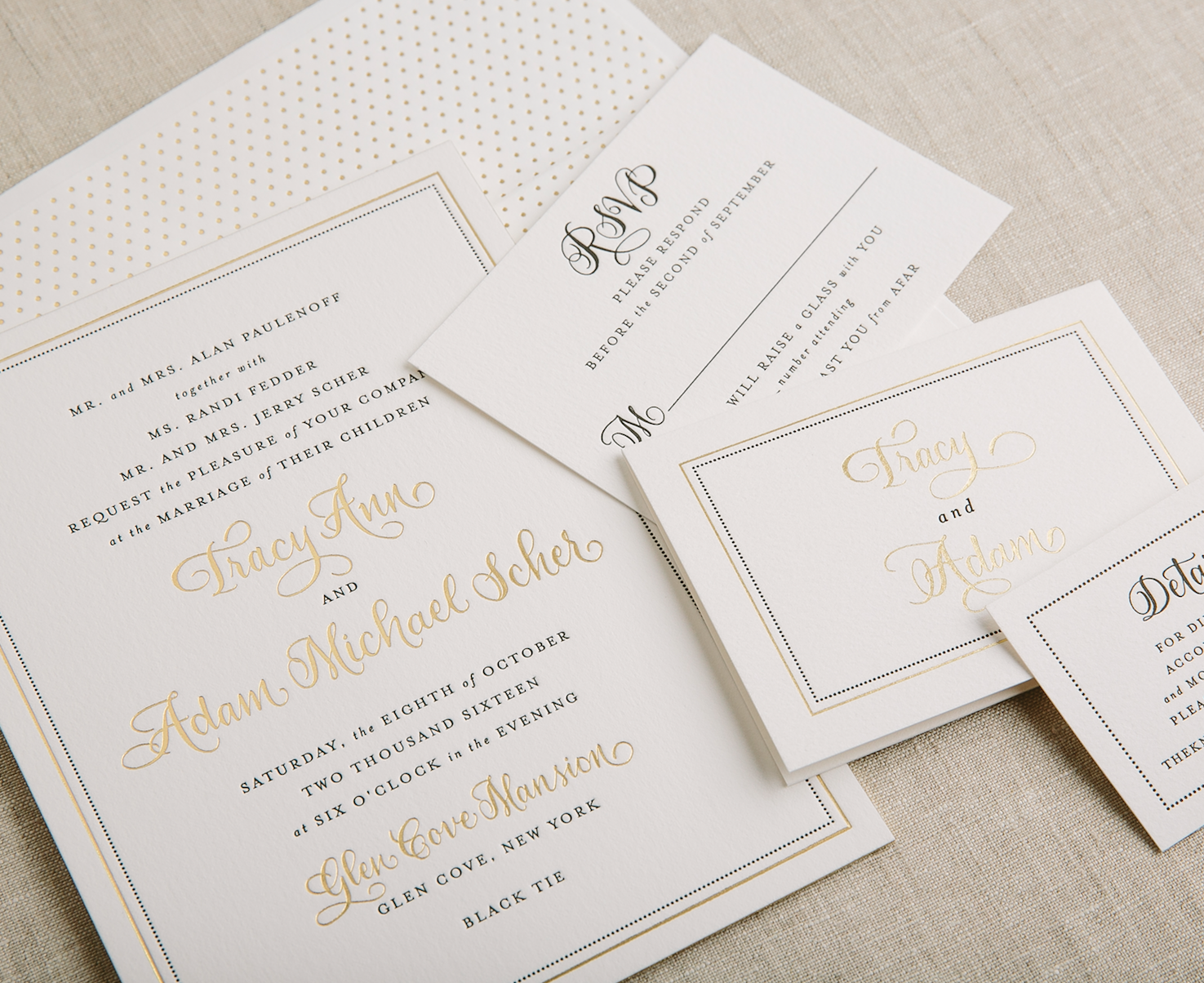 gold foil and black letterpress wedding invitations with border ...