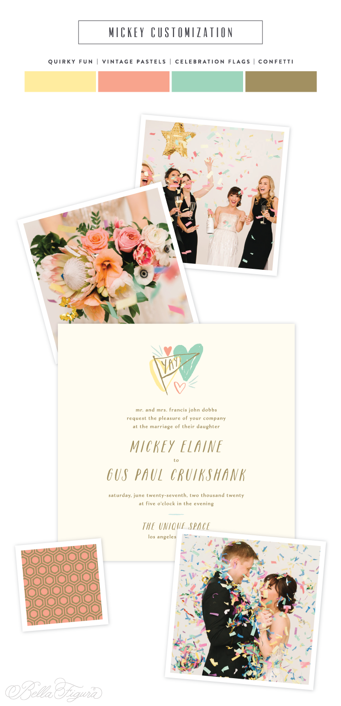 Mickey: quirky + cool vintage pastel wedding invitations by Bella Figura