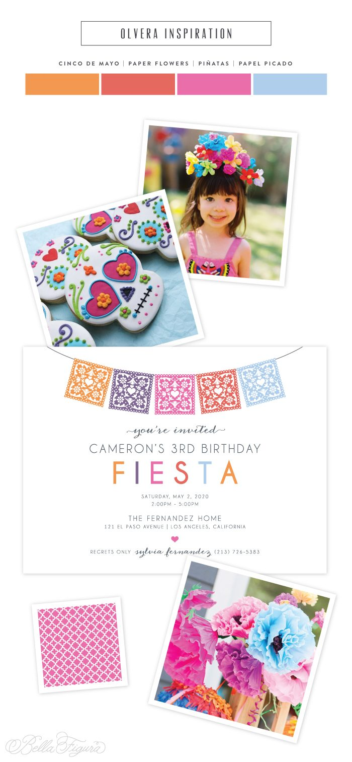Olvera: bright + colorful papel picado birthday invitations | Bella Figura