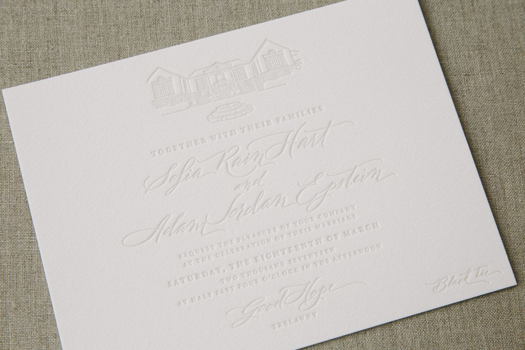 Pale gray letterpress wedding invitations | Bella Figura