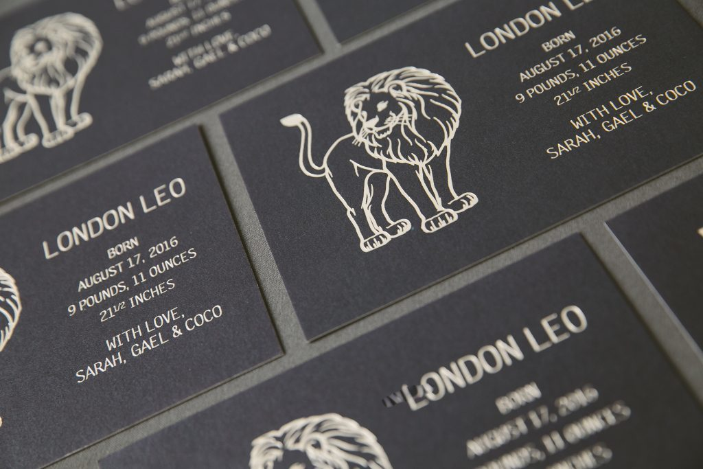 Navy + gold foil lion birth announcements | Bella Figura